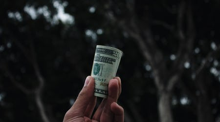 Hand holding a 20 dollar bill